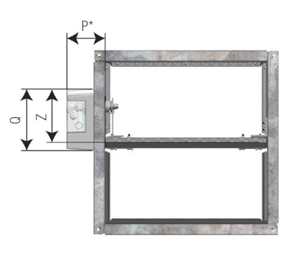 VU120 klapa odcinająca do systemów wentylacji pożarowej - wymiary