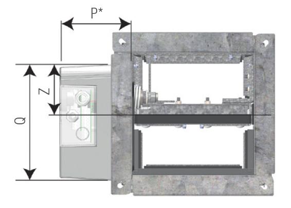 VU120 klapa odcinająca do systemów wentylacji pożarowej - wymiar